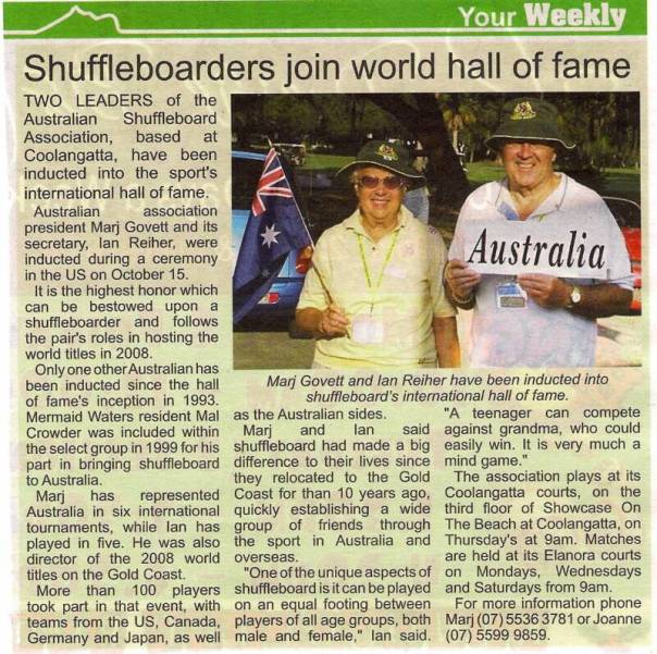 Ian & Marj HOF reported in AUS News