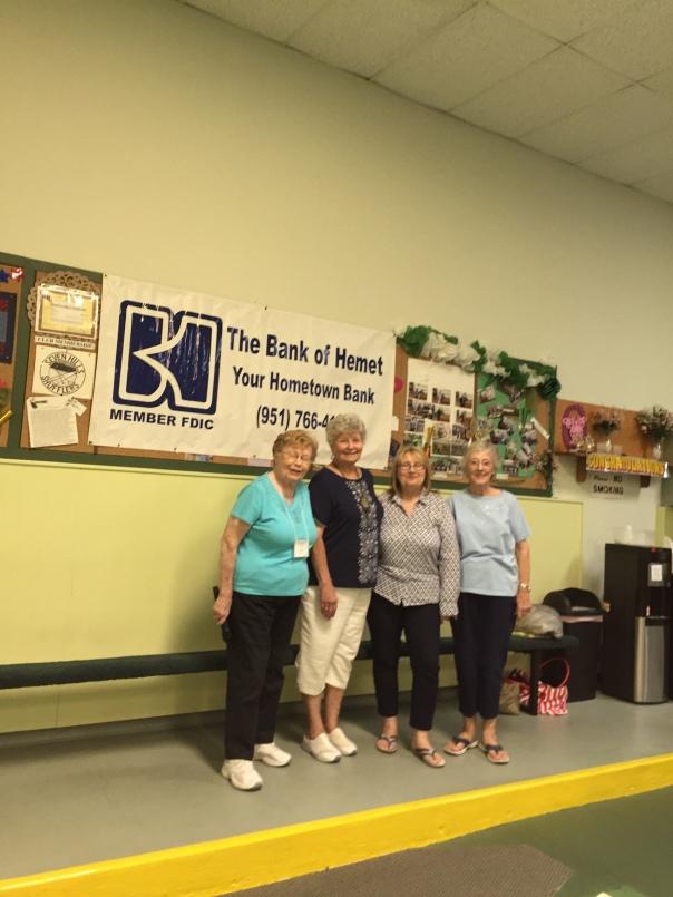 L-R Mary Davis, announcer, Sharyn DiChiro, D 7 Tournament Supervisor, Suzanne Shapiro, 7 Hills Pres.ATM, Ruby Best, Atm