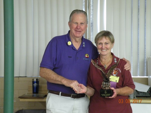 Helen Fraser receiving her     Championship Award from District 5 President Gene Eager.JPG